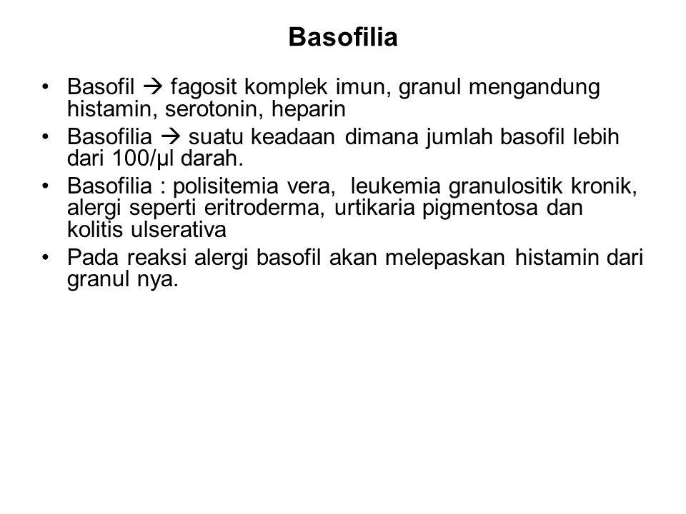 Basofilia Basofil  fagosit komplek imun, granul mengandung histamin, serotonin, heparin Basofilia  suatu keadaan dimana jumlah basofil lebih dari 100/µl darah.