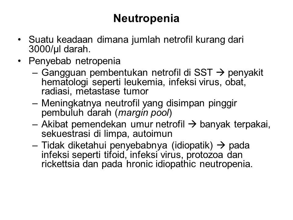 Neutropenia Suatu keadaan dimana jumlah netrofil kurang dari 3000/µl darah.