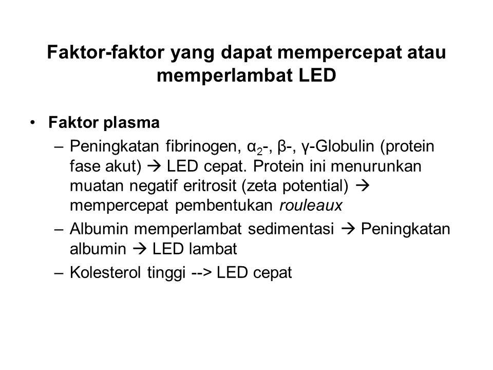 Faktor-faktor yang dapat mempercepat atau memperlambat LED Faktor plasma –Peningkatan fibrinogen, α 2 -, β-, γ-Globulin (protein fase akut)  LED cepat.