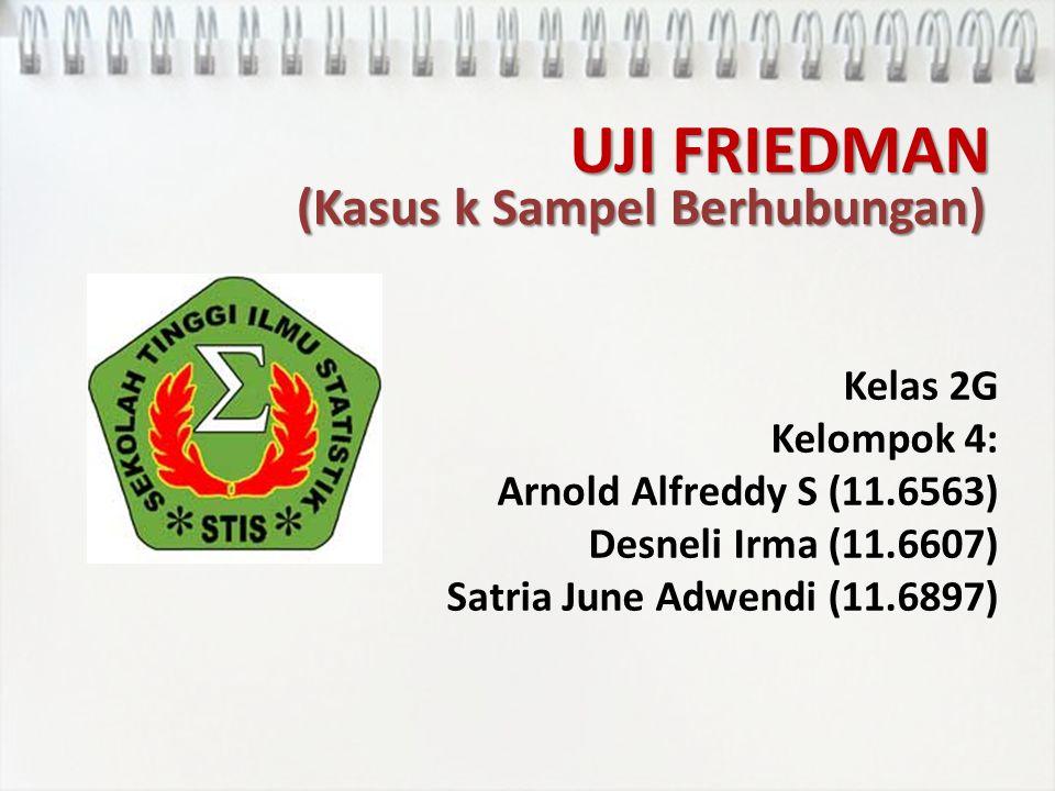 UJI FRIEDMAN Kelas 2G Kelompok 4: Arnold Alfreddy S (11.6563) Desneli Irma (11.6607) Satria June Adwendi (11.6897) (Kasus k Sampel Berhubungan)