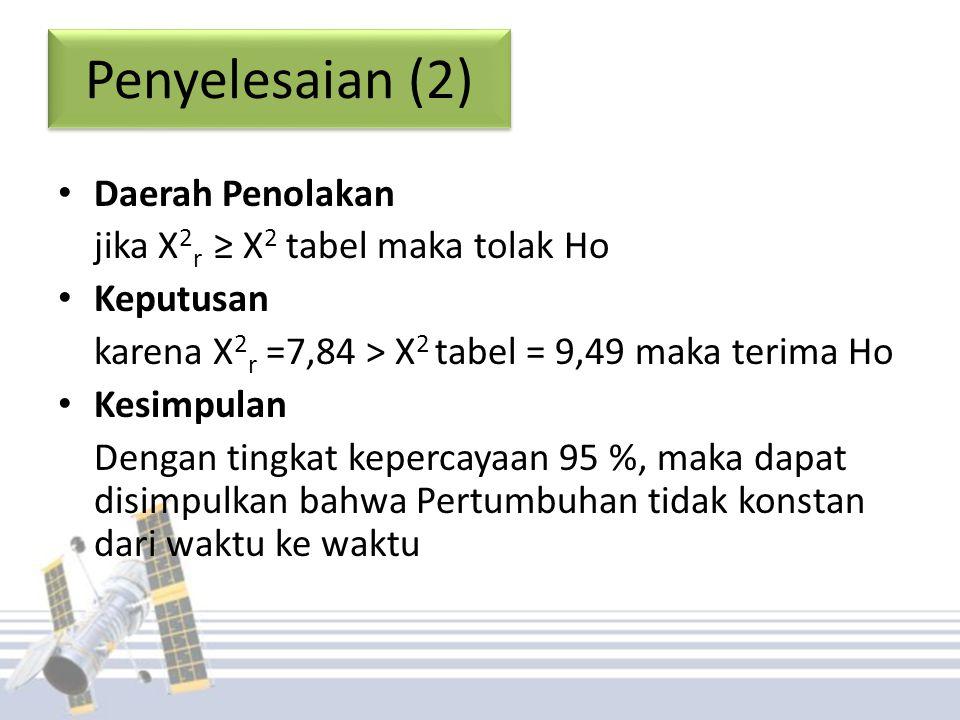 Penyelesaian (2) Daerah Penolakan jika X 2 r ≥ X 2 tabel maka tolak Ho Keputusan karena X 2 r =7,84 > X 2 tabel = 9,49 maka terima Ho Kesimpulan Dengan tingkat kepercayaan 95 %, maka dapat disimpulkan bahwa Pertumbuhan tidak konstan dari waktu ke waktu