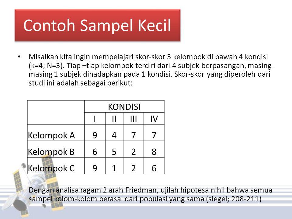 Penyelesaian(1) Hipotesis Ho : semua sampel kolom-kolom berasal dari populasi yang sama H1 : minimal ada 2 sampel kolom-kolom yang berasal dari populasi yang berbeda Taraf Signifikansi (α=0,05) Statistik uji dan hitung (uji Friedman) Setelah di ranking, maka diperoleh: KONDISI IIIIIIIV Kelompok A412,5 Kelompok B3214 Kelompok C4123 Jumlah1155,59,5