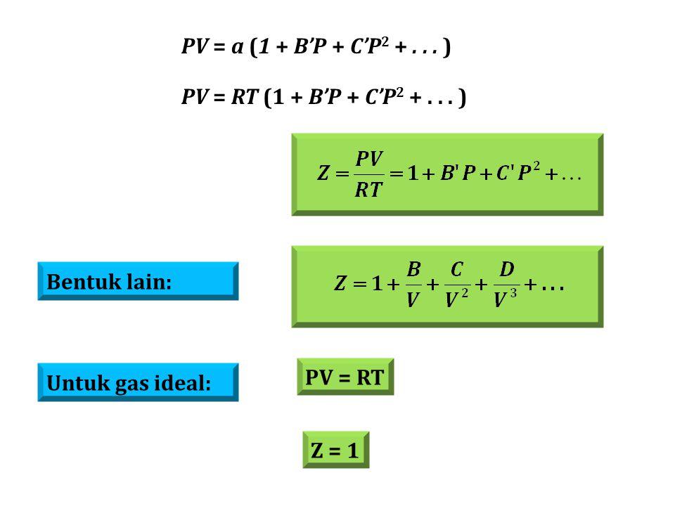 Bentuk lain: Untuk gas ideal: PV = RT Z = 1 PV = a (1 + B'P + C'P 2 +... ) PV = RT (1 + B'P + C'P 2 +... )