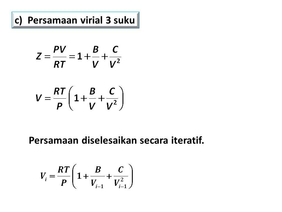 Persamaan diselesaikan secara iteratif. c) Persamaan virial 3 suku