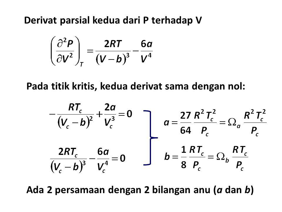 Derivat parsial kedua dari P terhadap V Pada titik kritis, kedua derivat sama dengan nol: Ada 2 persamaan dengan 2 bilangan anu (a dan b)