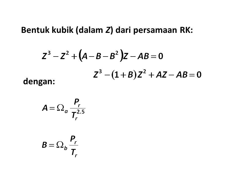Bentuk kubik (dalam Z) dari persamaan RK: dengan: