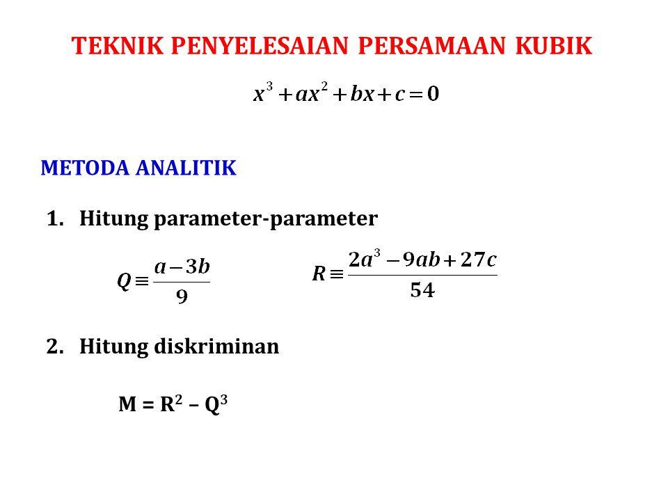 TEKNIK PENYELESAIAN PERSAMAAN KUBIK METODA ANALITIK M = R 2 – Q 3 1.Hitung parameter-parameter 2.Hitung diskriminan