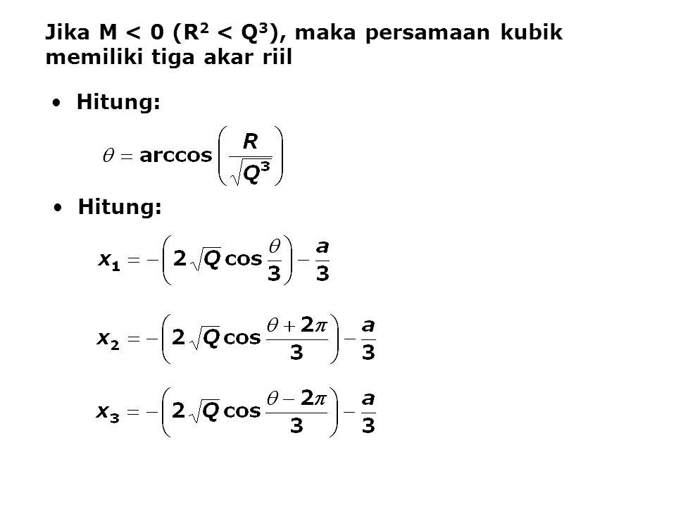 Jika M < 0 (R 2 < Q 3 ), maka persamaan kubik memiliki tiga akar riil Hitung: