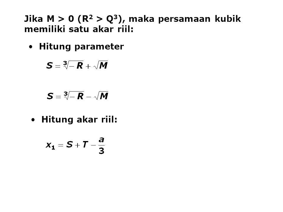 Jika M > 0 (R 2 > Q 3 ), maka persamaan kubik memiliki satu akar riil: Hitung parameter Hitung akar riil: