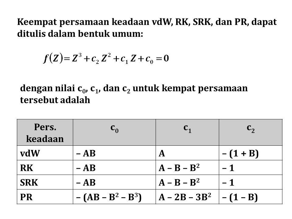 Keempat persamaan keadaan vdW, RK, SRK, dan PR, dapat ditulis dalam bentuk umum: dengan nilai c 0, c 1, dan c 2 untuk kempat persamaan tersebut adalah Pers.