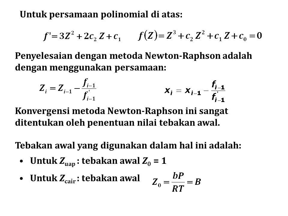 Untuk persamaan polinomial di atas: Penyelesaian dengan metoda Newton-Raphson adalah dengan menggunakan persamaan: Konvergensi metoda Newton-Raphson ini sangat ditentukan oleh penentuan nilai tebakan awal.