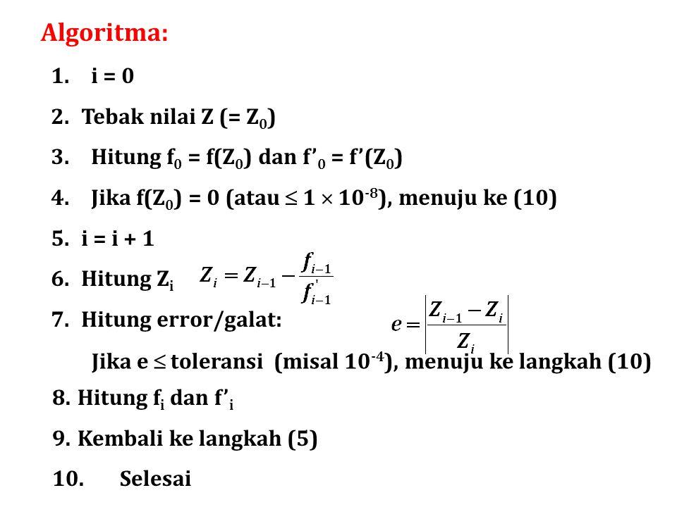Algoritma: 1. i = 0 2.Tebak nilai Z (= Z 0 ) 3. Hitung f 0 = f(Z 0 ) dan f' 0 = f'(Z 0 ) 4. Jika f(Z 0 ) = 0 (atau  1  10 -8 ), menuju ke (10) 5.i =