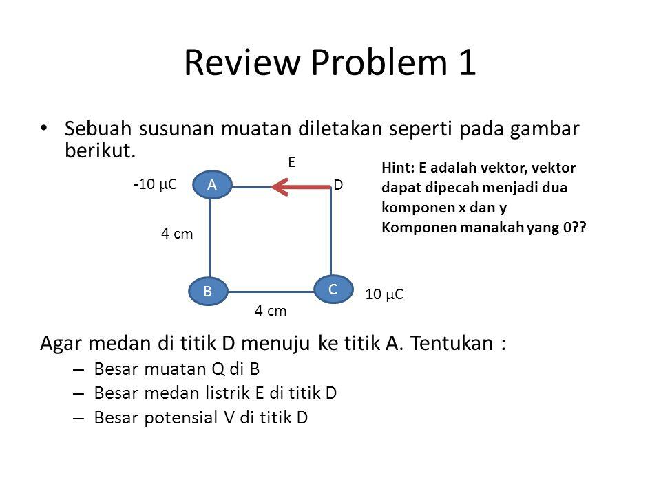 Review Problem 1 Sebuah susunan muatan diletakan seperti pada gambar berikut. Agar medan di titik D menuju ke titik A. Tentukan : – Besar muatan Q di