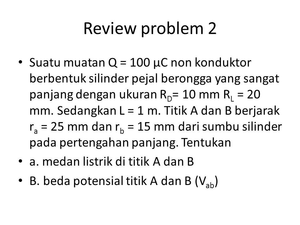 Review problem 2 Suatu muatan Q = 100 μC non konduktor berbentuk silinder pejal berongga yang sangat panjang dengan ukuran R D = 10 mm R L = 20 mm. Se