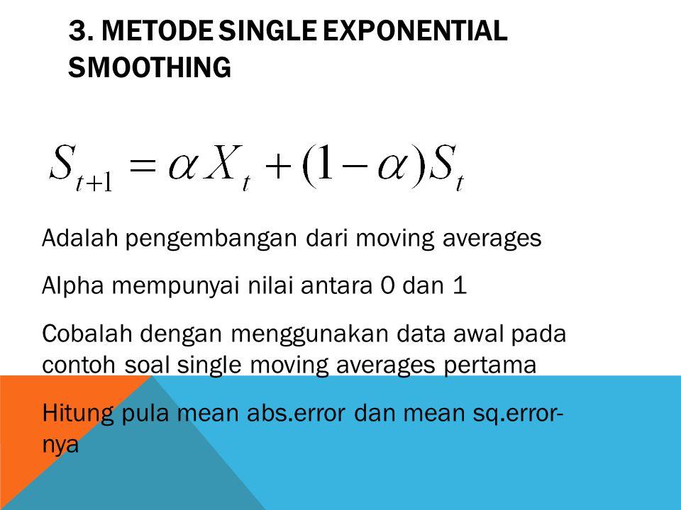 3. METODE SINGLE EXPONENTIAL SMOOTHING Adalah pengembangan dari moving averages Alpha mempunyai nilai antara 0 dan 1 Cobalah dengan menggunakan data a