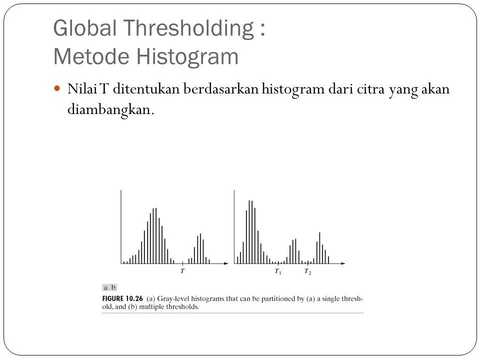 Global Thresholding : Metode Histogram Nilai T ditentukan berdasarkan histogram dari citra yang akan diambangkan.