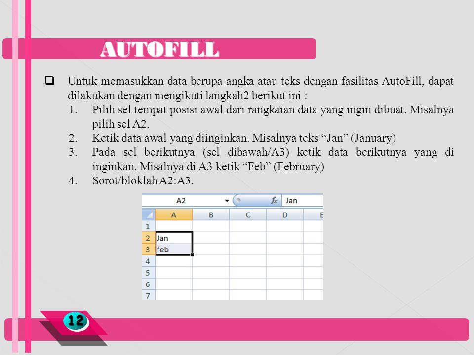 AUTOFILL 1212  Untuk memasukkan data berupa angka atau teks dengan fasilitas AutoFill, dapat dilakukan dengan mengikuti langkah2 berikut ini : 1.Pili