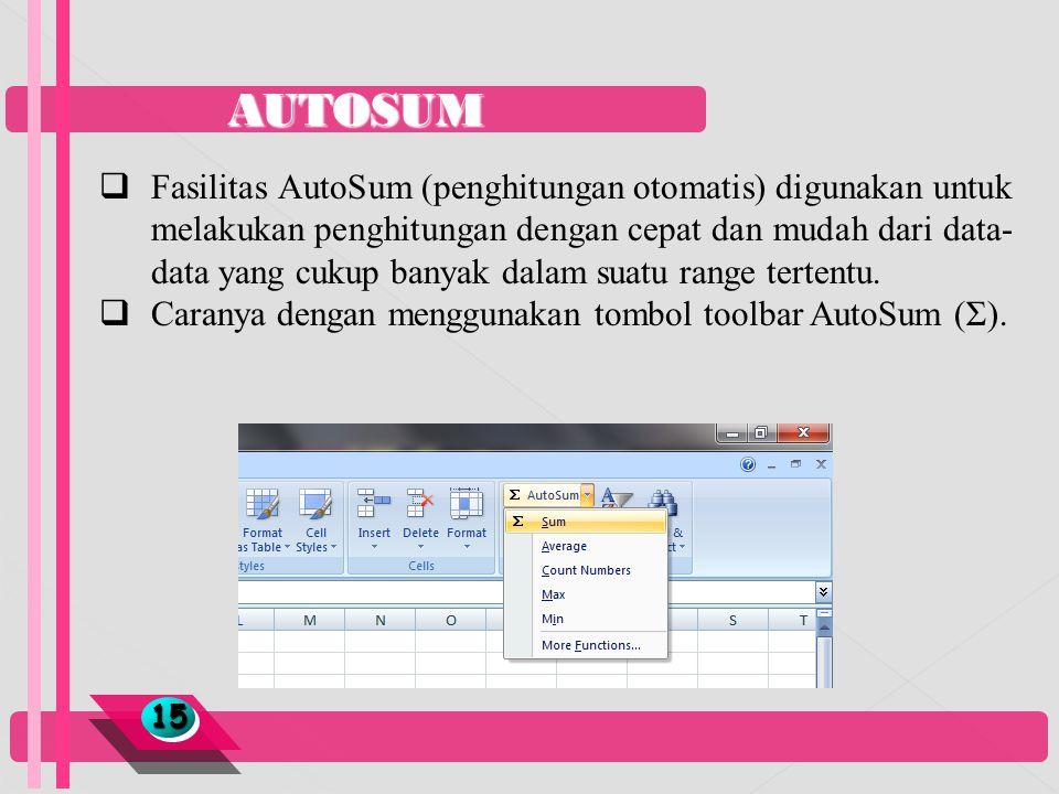 AUTOSUM 1515  Fasilitas AutoSum (penghitungan otomatis) digunakan untuk melakukan penghitungan dengan cepat dan mudah dari data- data yang cukup bany