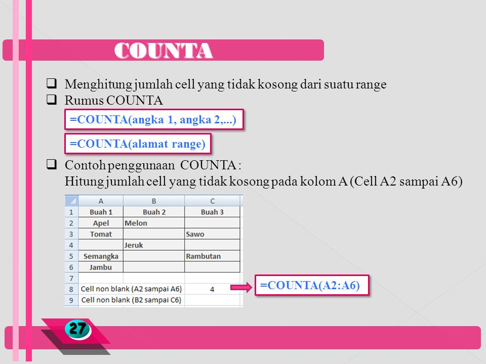 COUNTA 2727  Menghitung jumlah cell yang tidak kosong dari suatu range  Rumus COUNTA  Contoh penggunaan COUNTA : Hitung jumlah cell yang tidak koso