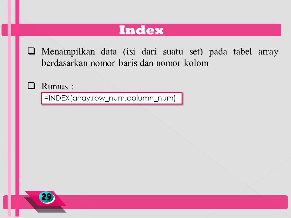 Index 2929  Menampilkan data (isi dari suatu set) pada tabel array berdasarkan nomor baris dan nomor kolom  Rumus : =INDEX(array,row_num,column_num)