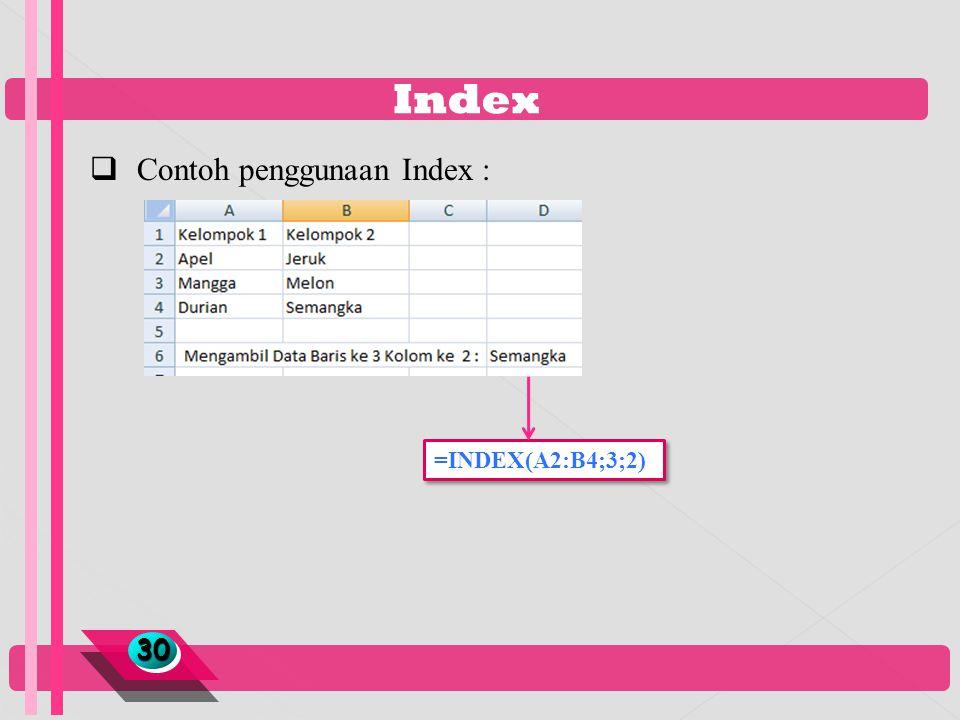 Index 3030  Contoh penggunaan Index : =INDEX(A2:B4;3;2)