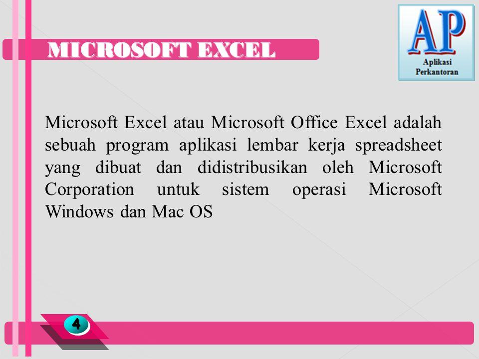 MICROSOFT EXCEL 44 Microsoft Excel atau Microsoft Office Excel adalah sebuah program aplikasi lembar kerja spreadsheet yang dibuat dan didistribusikan