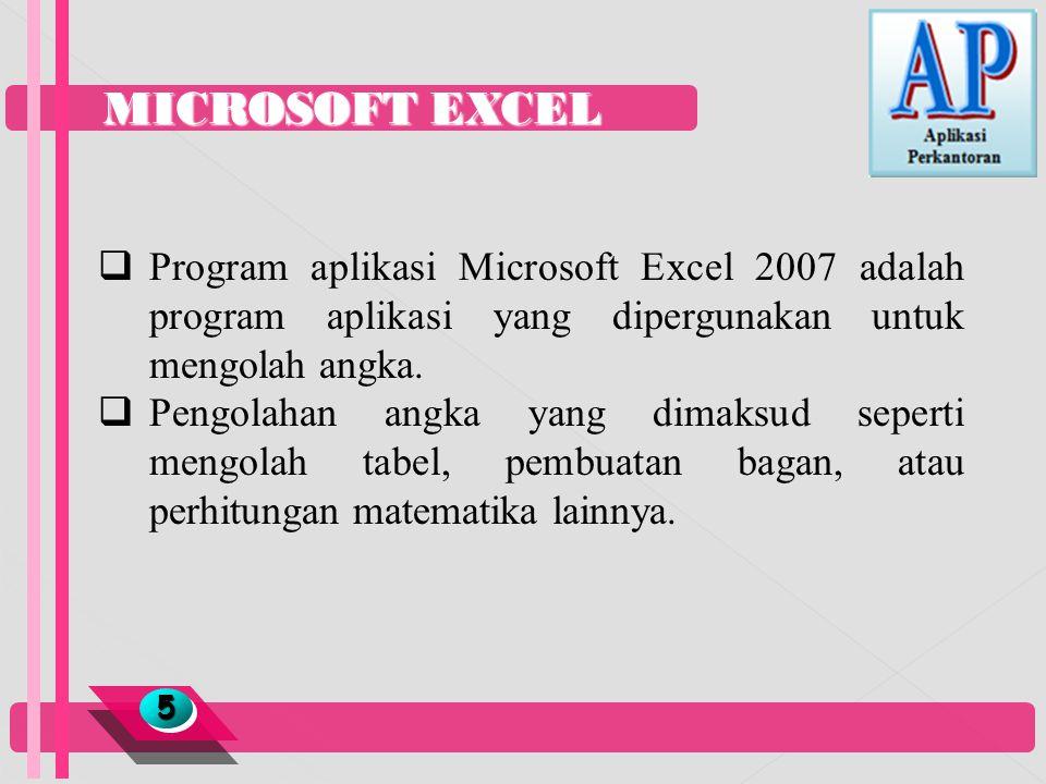 MICROSOFT EXCEL 55  Program aplikasi Microsoft Excel 2007 adalah program aplikasi yang dipergunakan untuk mengolah angka.  Pengolahan angka yang dim