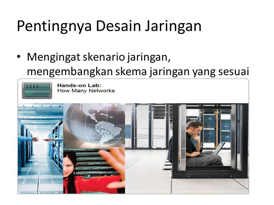 Pentingnya Desain Jaringan Mengingat skenario jaringan, mengembangkan skema jaringan yang sesuai