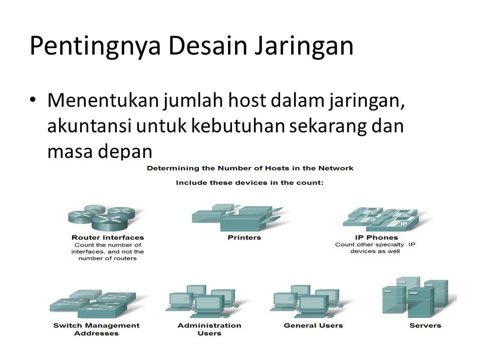 Pentingnya Desain Jaringan Menentukan jumlah host dalam jaringan, akuntansi untuk kebutuhan sekarang dan masa depan