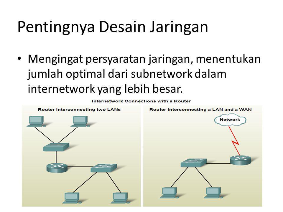 Pentingnya Desain Jaringan Mengingat persyaratan jaringan, menentukan jumlah optimal dari subnetwork dalam internetwork yang lebih besar.