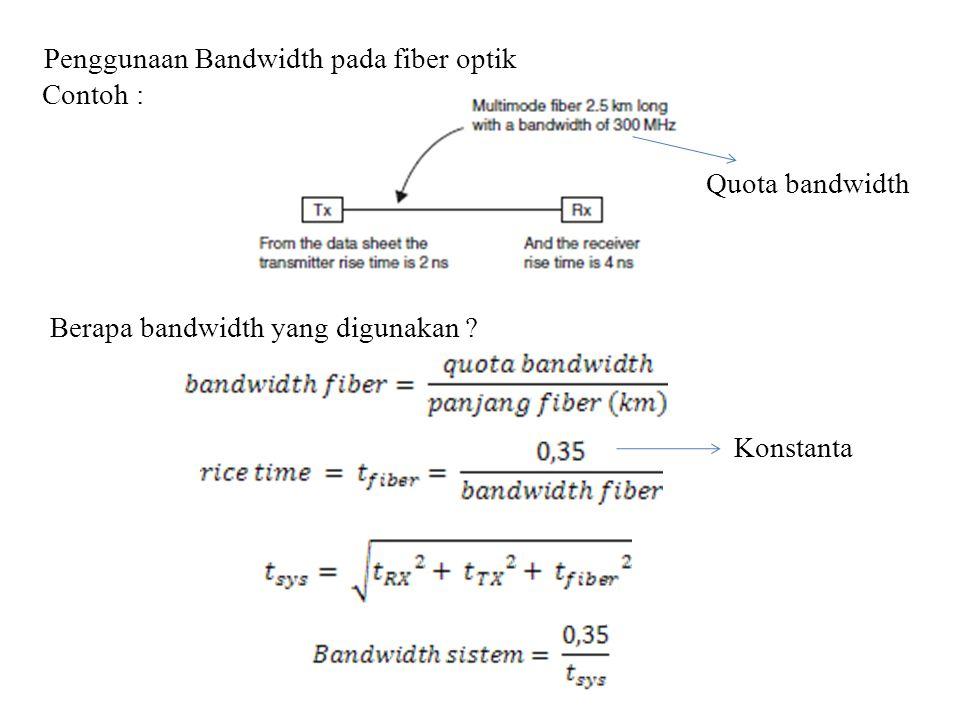 Penggunaan Bandwidth pada fiber optik Contoh : Berapa bandwidth yang digunakan ? Quota bandwidth Konstanta
