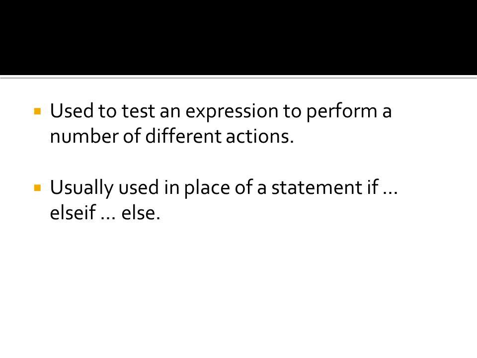 Sintaks : Switch (ekspresi) { case (kondisi1): blok pernyataan1; break; case (kondisi2): blok pernyataan2; break;....