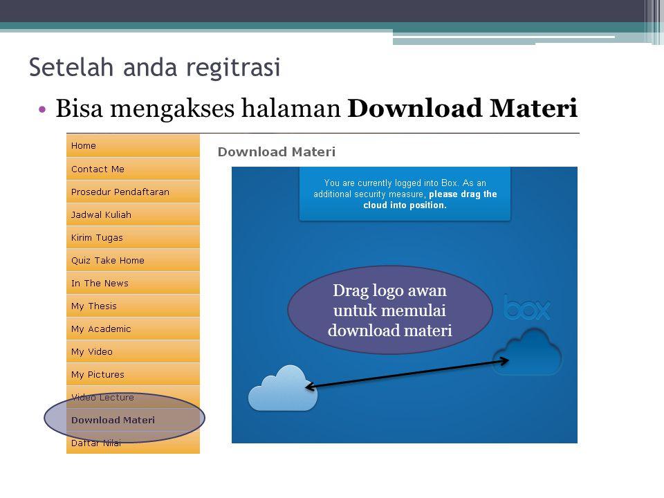 Setelah anda regitrasi Bisa mengakses halaman Download Materi Drag logo awan untuk memulai download materi