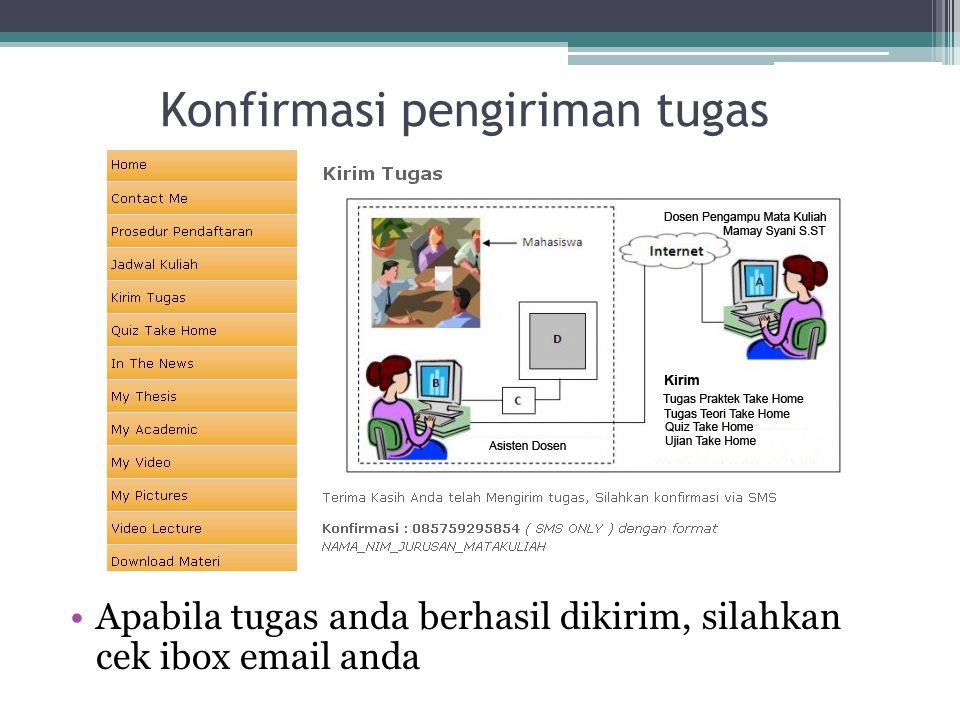 Konfirmasi pengiriman tugas Apabila tugas anda berhasil dikirim, silahkan cek ibox email anda