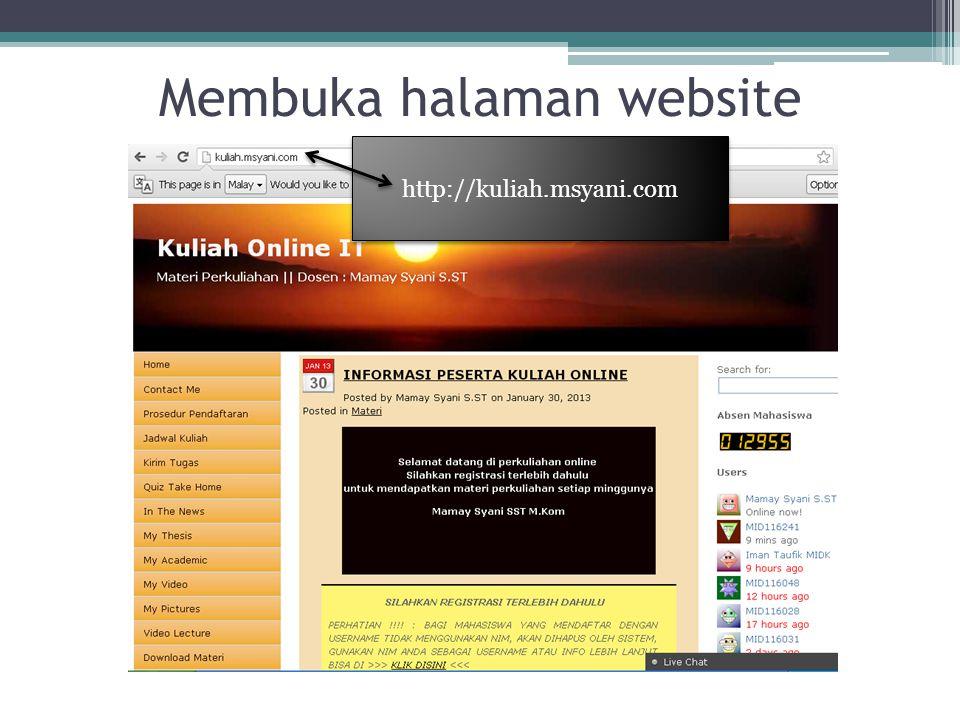 Membuka halaman website http://kuliah.msyani.com