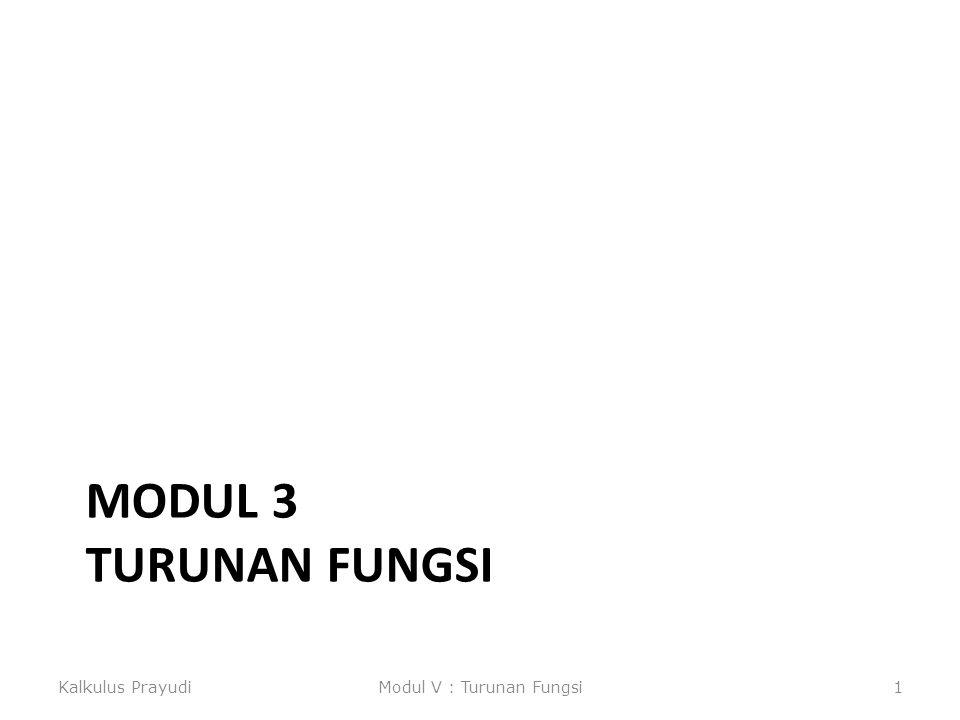 MODUL 3 TURUNAN FUNGSI Kalkulus PrayudiModul V : Turunan Fungsi1
