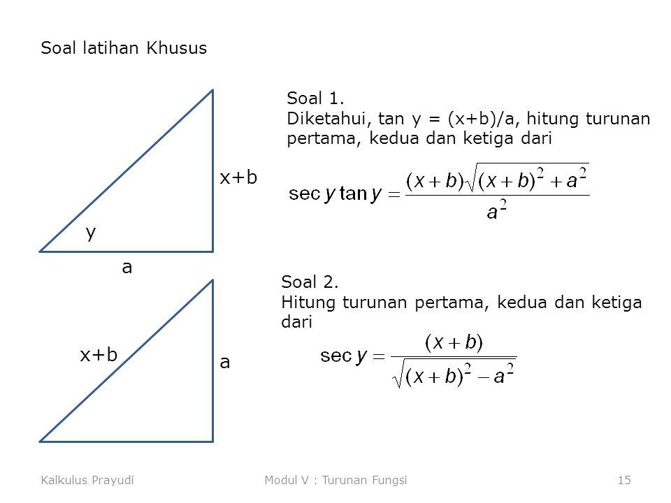 Kalkulus PrayudiModul V : Turunan Fungsi15 Soal latihan Khusus x+b a y Soal 1. Diketahui, tan y = (x+b)/a, hitung turunan pertama, kedua dan ketiga da