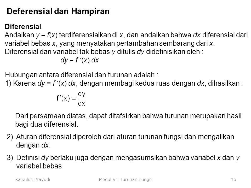 Kalkulus PrayudiModul V : Turunan Fungsi16 Deferensial dan Hampiran Diferensial. Andaikan y = f(x) terdiferensialkan di x, dan andaikan bahwa dx difer