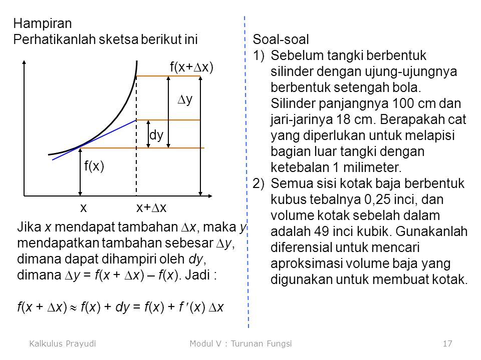 Kalkulus PrayudiModul V : Turunan Fungsi17 Hampiran Perhatikanlah sketsa berikut ini x x+  x f(x) f(x+  x) dy yy Soal-soal 1)Sebelum tangki berben
