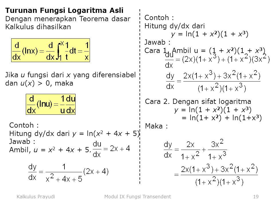 Kalkulus PrayudiModul IX Fungsi Transendent19 Turunan Fungsi Logaritma Asli Dengan menerapkan Teorema dasar Kalkulus dihasilkan Jika u fungsi dari x y