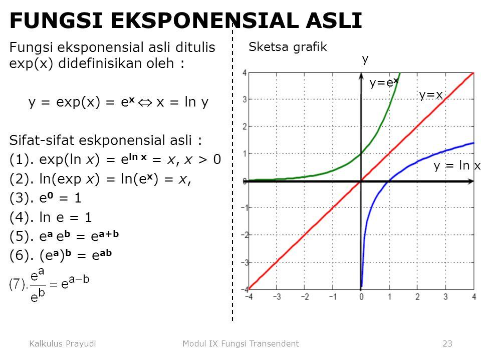 Kalkulus PrayudiModul IX Fungsi Transendent23 FUNGSI EKSPONENSIAL ASLI Fungsi eksponensial asli ditulis exp(x) didefinisikan oleh : y = exp(x) = e x 