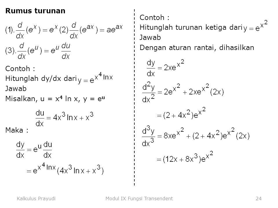 Kalkulus PrayudiModul IX Fungsi Transendent24 Rumus turunan Contoh : Hitunglah dy/dx dari Jawab Misalkan, u = x 4 ln x, y = e u Maka : Contoh : Hitung