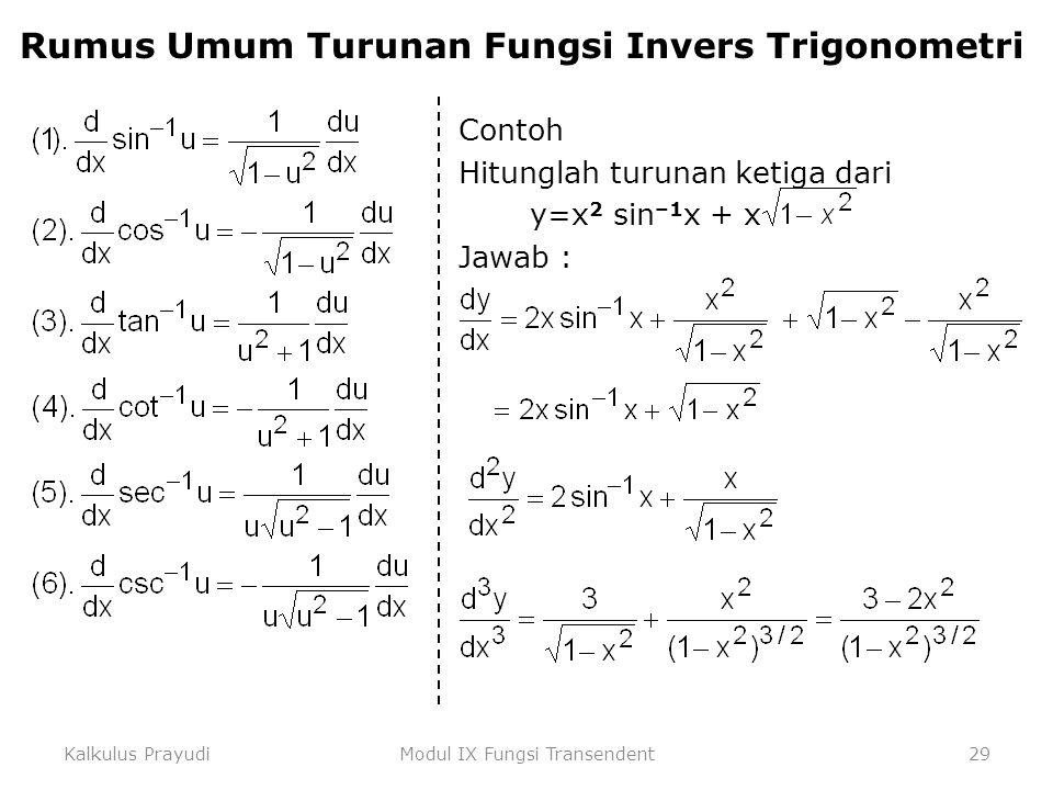 Kalkulus PrayudiModul IX Fungsi Transendent29 Rumus Umum Turunan Fungsi Invers Trigonometri Contoh Hitunglah turunan ketiga dari y=x 2 sin –1 x + x Ja