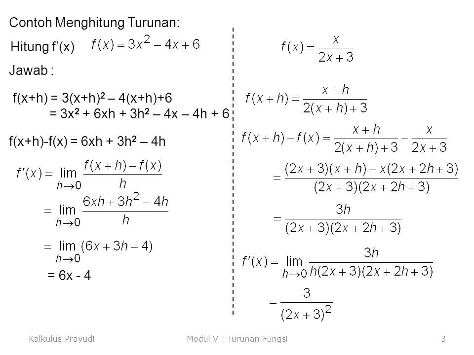 Kalkulus PrayudiModul V : Turunan Fungsi3 Contoh Menghitung Turunan: Jawab : Hitung f'(x) f(x+h) = 3(x+h) 2 – 4(x+h)+6 = 3x 2 + 6xh + 3h 2 – 4x – 4h +