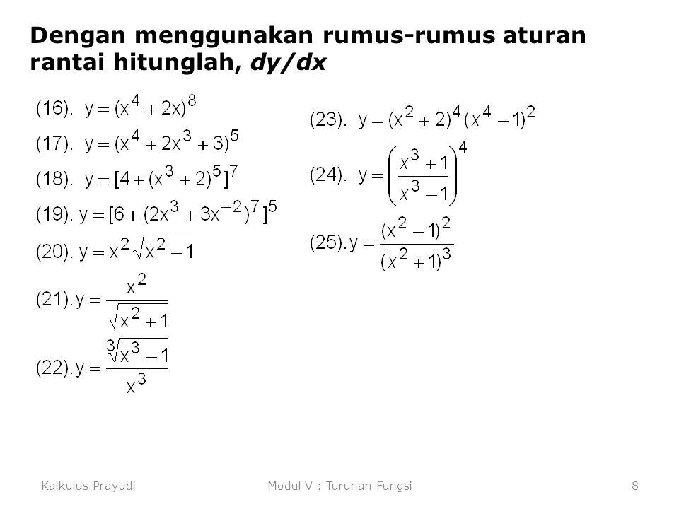 Kalkulus PrayudiModul IX Fungsi Transendent19 Turunan Fungsi Logaritma Asli Dengan menerapkan Teorema dasar Kalkulus dihasilkan Jika u fungsi dari x yang diferensiabel dan u(x) > 0, maka Contoh : Hitung dy/dx dari y = ln(x 2 + 4x + 5) Jawab : Ambil, u = x 2 + 4x + 5.