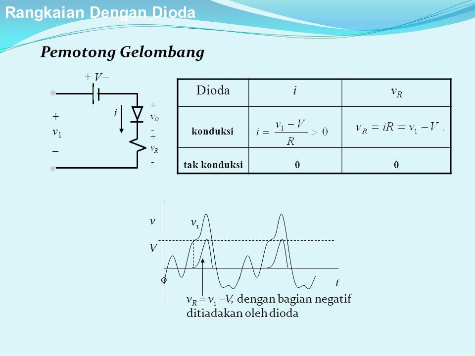 Pemotong Gelombang + V  +vD+vD +vR+vR i +v1_+v1_ DiodaivRvR konduksi tak konduksi 00 Rangkaian Dengan Dioda v V v1v1 v R = v 1 –V, dengan bagian negatif ditiadakan oleh dioda t 0