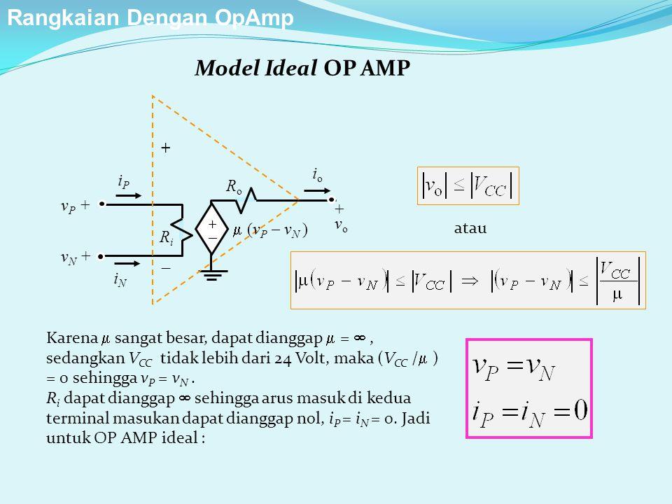 Model Ideal OP AMP ++ RiRi RoRo + v o iPiP iNiN v P + v N + +  ioio  (v P  v N ) atau Karena  sangat besar, dapat dianggap  = , sedangkan V CC