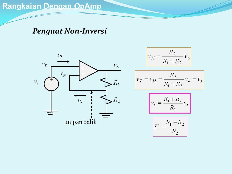 Penguat Non-Inversi ++ ++ iPiP iNiN vPvP vsvs vNvN R1R1 R2R2 vo vo umpan balik Rangkaian Dengan OpAmp