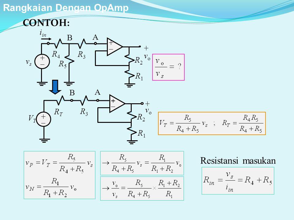Resistansi masukan R2R2 ++ ++ + v o R1R1 R3R3 vsvs A i in R4R4 R5R5 B R2R2 ++ ++ +vo+vo R1R1 R3R3 VTVT A RTRT B CONTOH: Rangkaian Dengan OpAmp