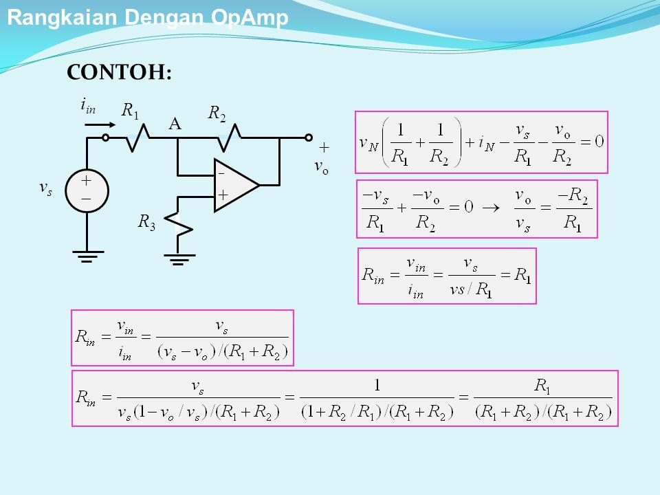 R2R2 ++ ++ + v o R1R1 R3R3 vsvs A i in CONTOH: Rangkaian Dengan OpAmp